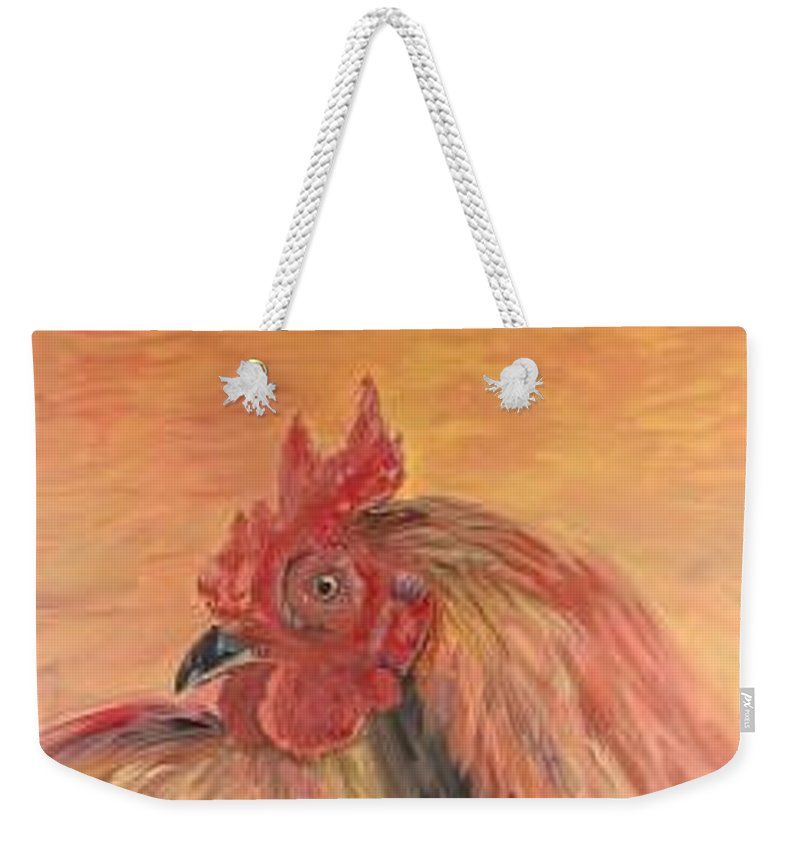 Rooster Weekender Tote Bag featuring the painting French Country Rooster by Nadine Rippelmeyer
