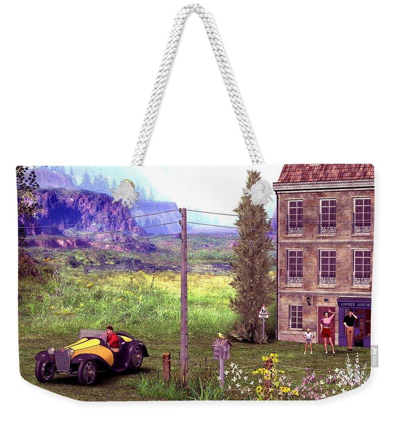 Landscape Weekender Tote Bag featuring the digital art French Countyside Scene by John Junek
