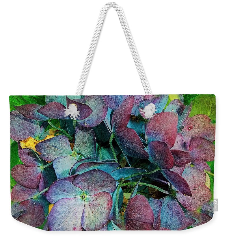 Hydrangea Weekender Tote Bag featuring the painting French Hydrangea Rainbow by RC DeWinter