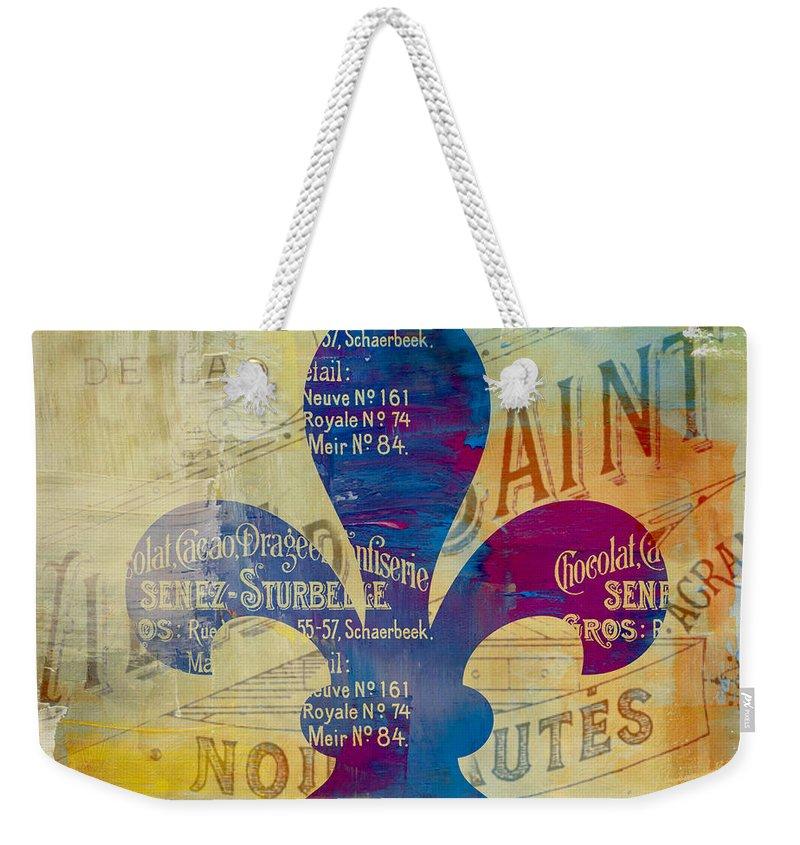 Brandi Fitzgerald Weekender Tote Bag featuring the digital art French Inspired Fleur De Lis by Brandi Fitzgerald
