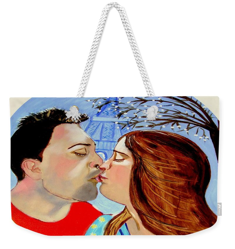France Weekender Tote Bag featuring the painting French Kissing At The Eiffel Tower by Rusty Gladdish