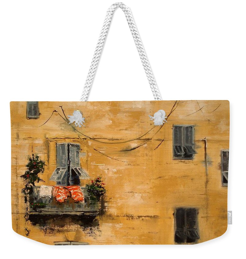 French Weekender Tote Bag featuring the painting French Laundry by Barbara Andolsek