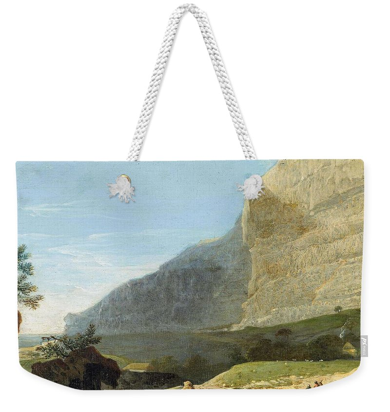 Nature Weekender Tote Bag featuring the painting French Master 1st Half Of Th 19th Century  Rocky Cliff Off Shore by Rocky Clif