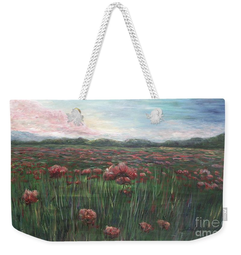 France Weekender Tote Bag featuring the painting French Poppies by Nadine Rippelmeyer