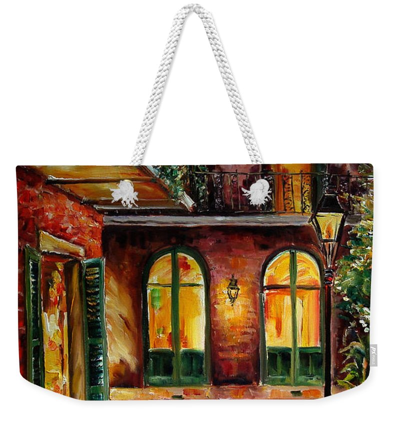 New Orleans Weekender Tote Bag featuring the painting French Quarter Alley by Diane Millsap