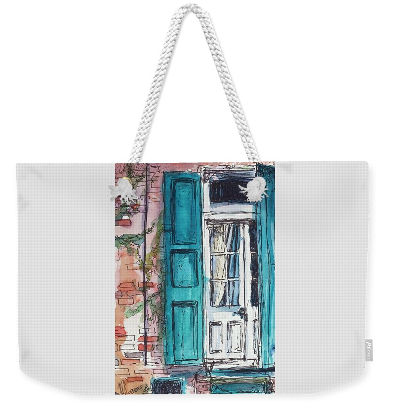 Blue Weekender Tote Bag featuring the painting French Quarter by Ava Obert