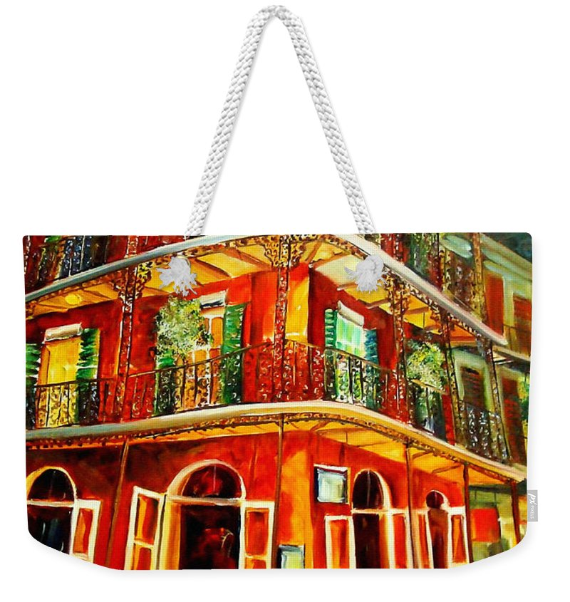 New Orleans Weekender Tote Bag featuring the painting French Quarter Corner by Diane Millsap
