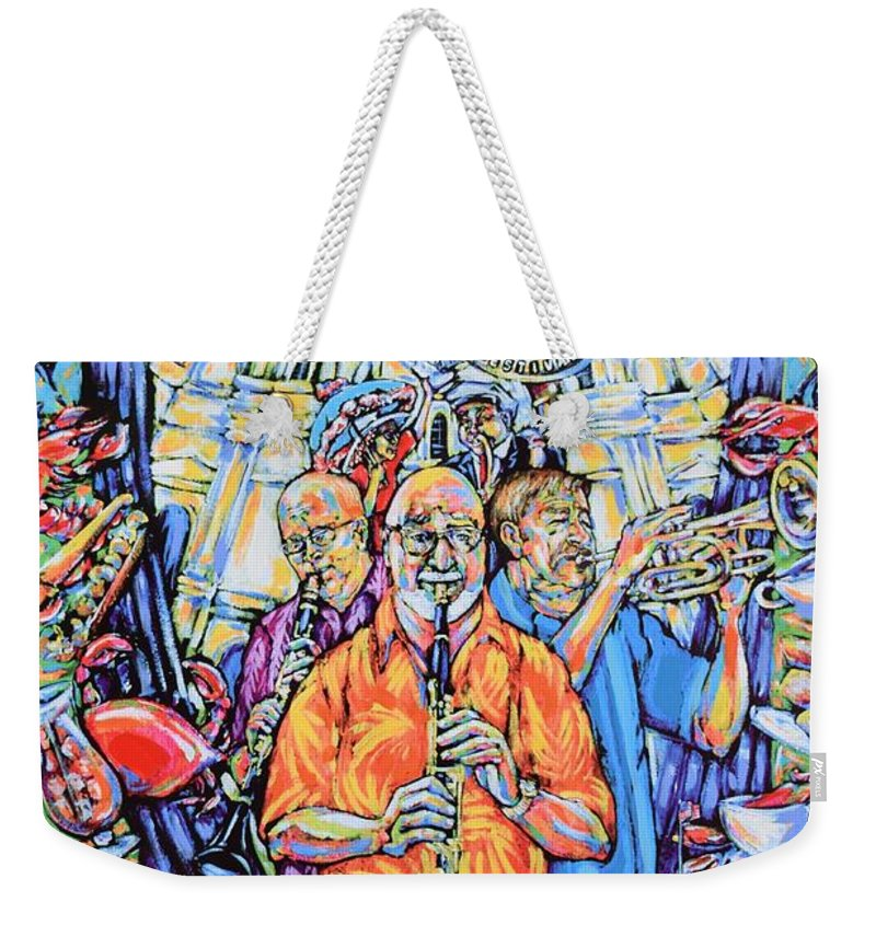 Pete Fountain Weekender Tote Bag featuring the painting French Quarter Fest 2011 by Tami Curtis