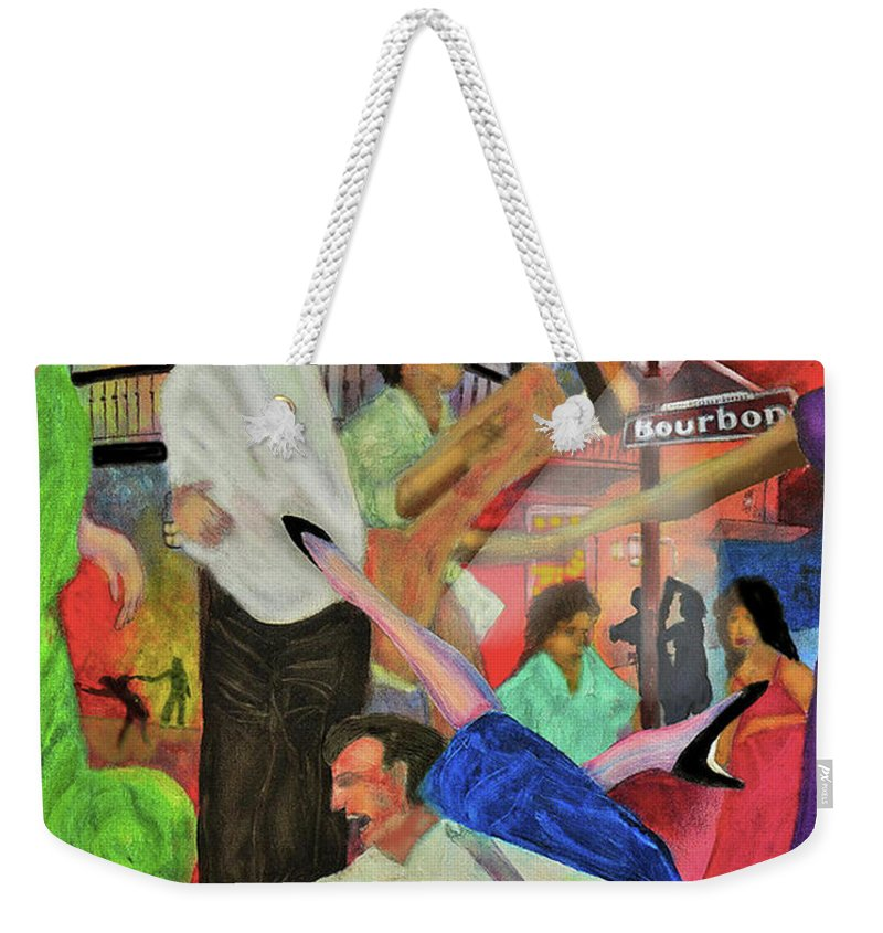 Quarter Weekender Tote Bag featuring the painting French Quarter by Larry Rice