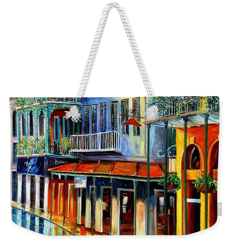 New Orleans Paintins Weekender Tote Bag featuring the painting French Quarter Sunrise by Diane Millsap