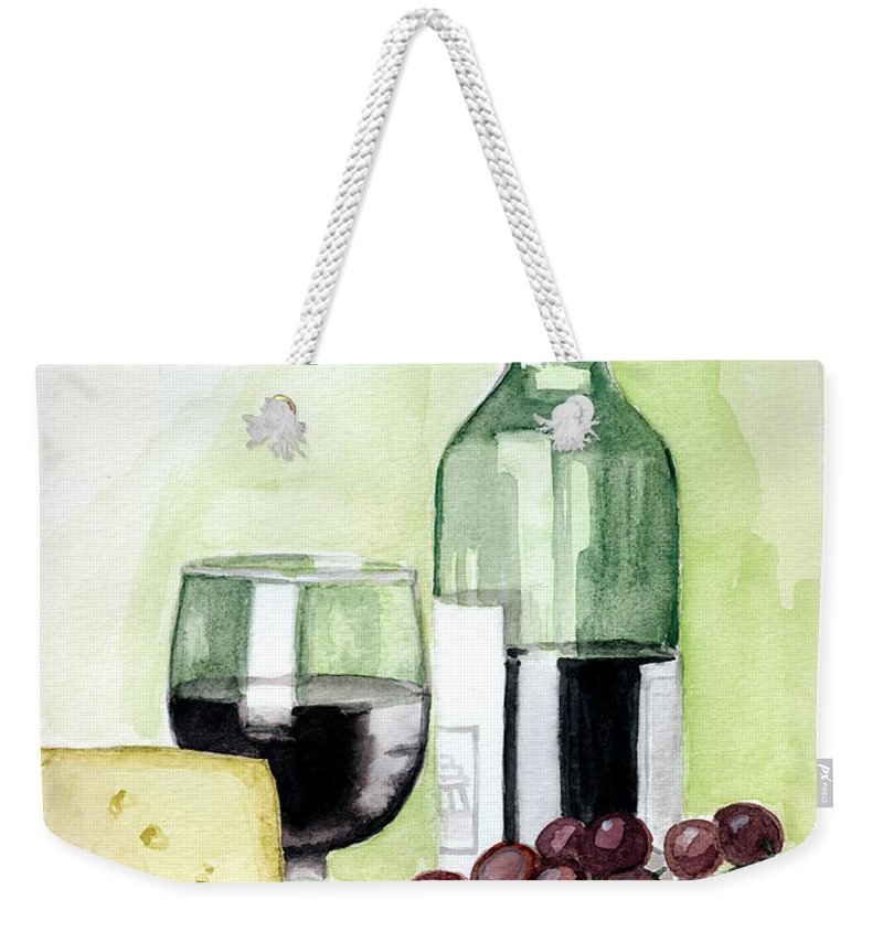 Wine Weekender Tote Bag featuring the painting French Tradition by Alban Dizdari