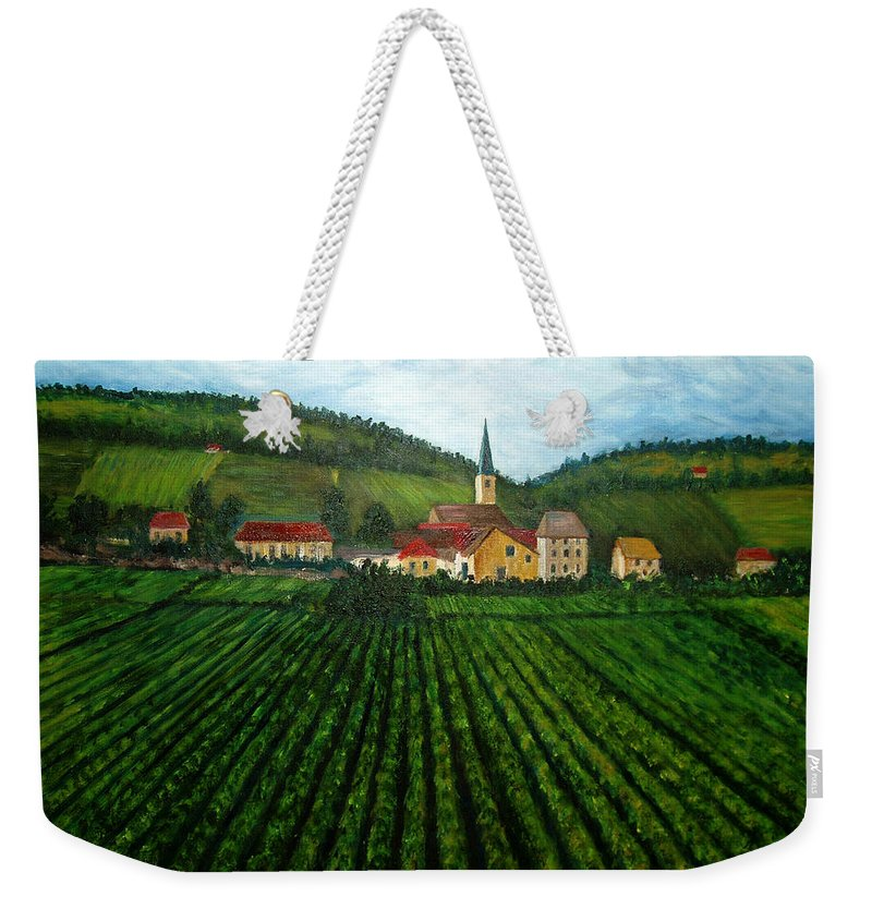 Acrylic Weekender Tote Bag featuring the painting French Village In The Vineyards by Nancy Mueller