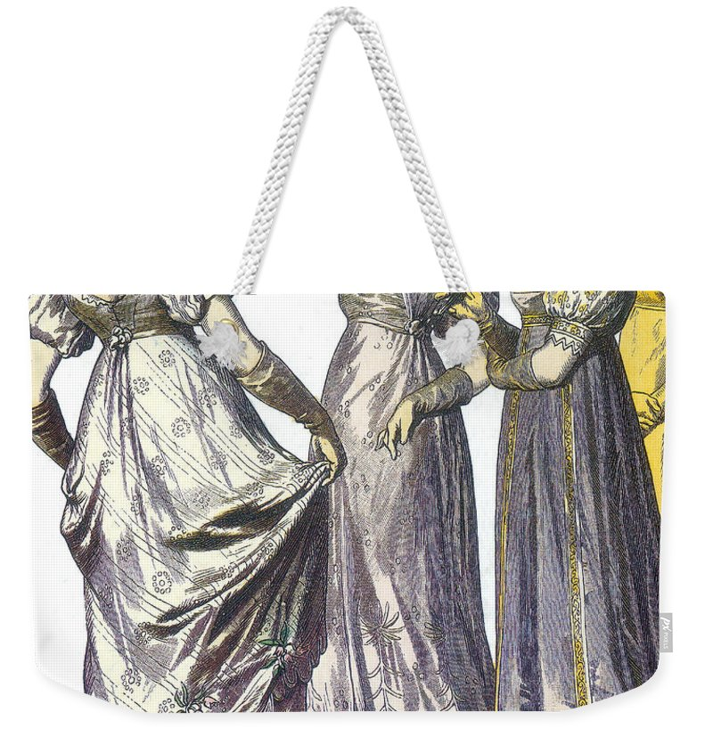 Fashion Weekender Tote Bag featuring the photograph French Womens Fashion, 1808-09 by Science Source
