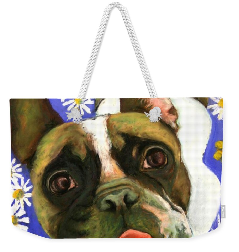 Pet Portrait Weekender Tote Bag featuring the painting Frenchie Plays With Frogs by Minaz Jantz