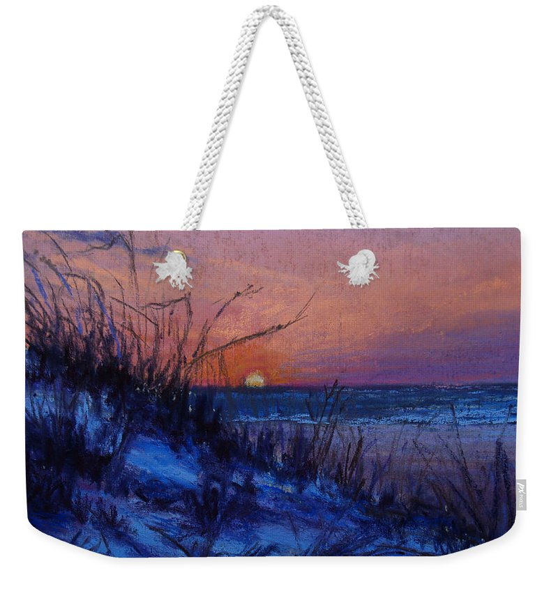 Landscape Weekender Tote Bag featuring the pastel Frenchy's Sunset by Susan Jenkins