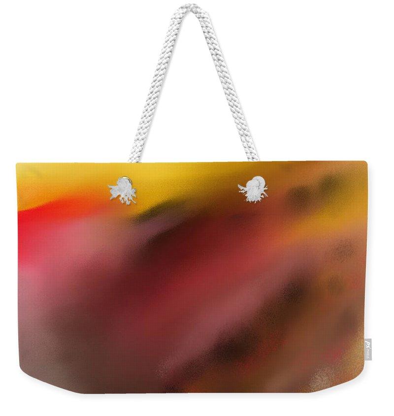 Digital Painting Weekender Tote Bag featuring the digital art Frenetic Landscape by David Lane