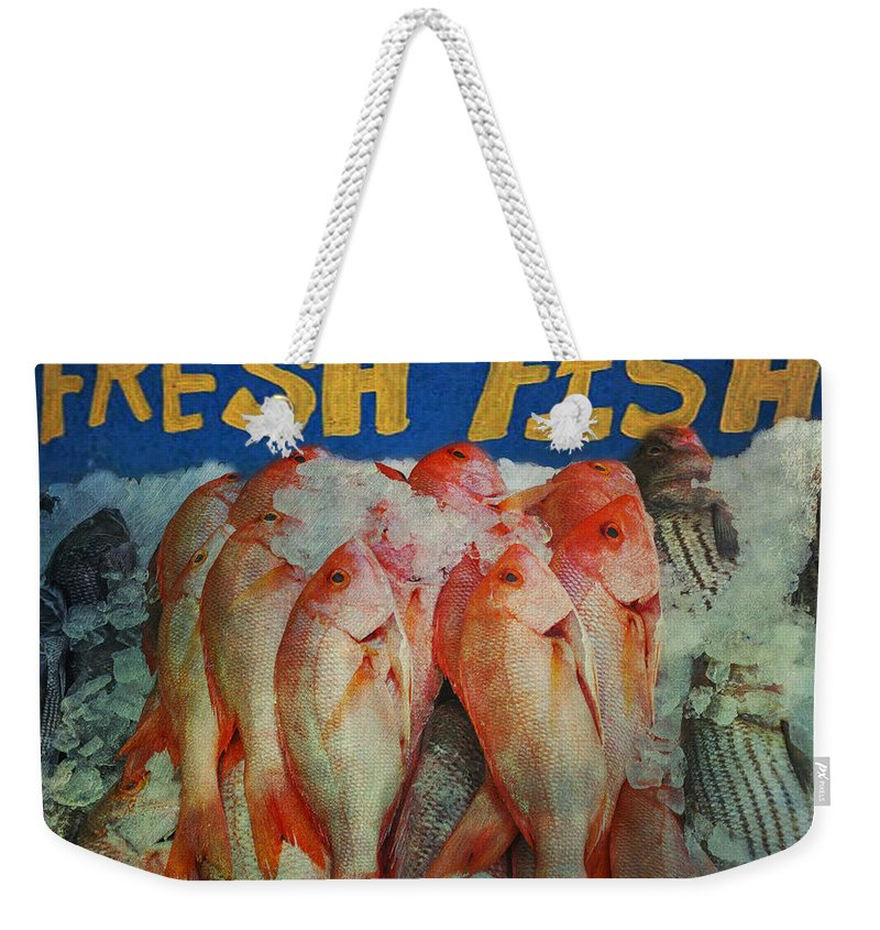 Fresh Weekender Tote Bag featuring the photograph Fresh Fish by Bill Cannon
