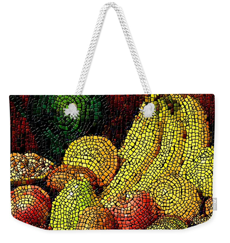 Fruit Weekender Tote Bag featuring the digital art Fresh Fruit Tiled by Stephen Lucas
