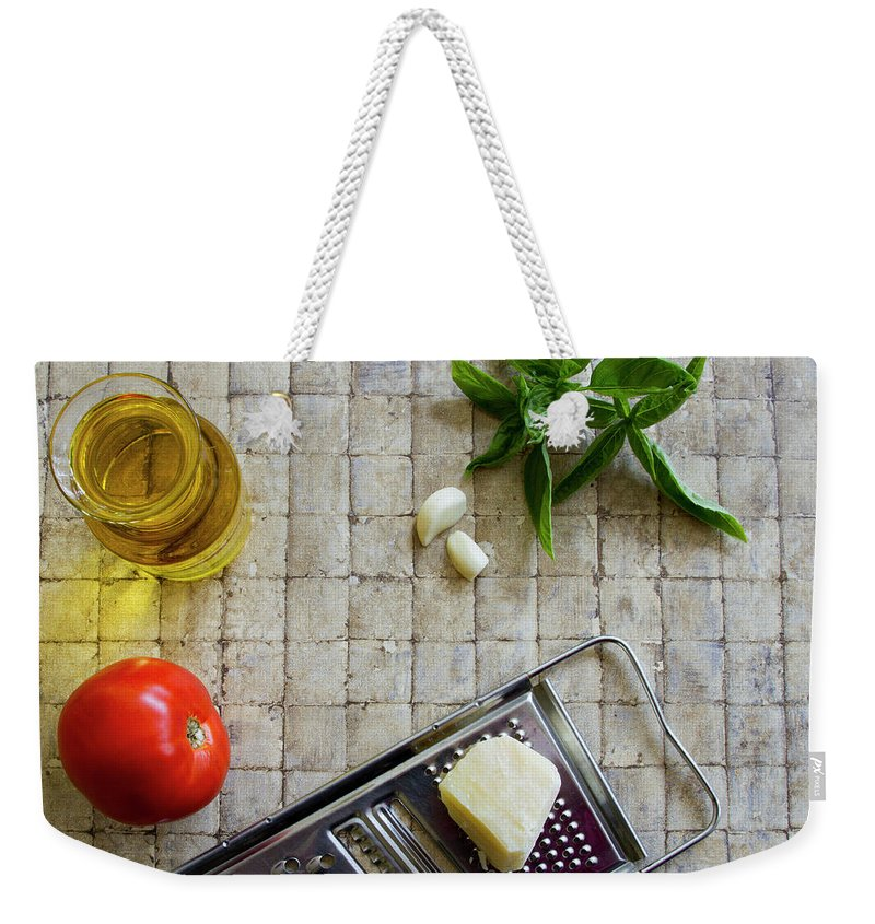 Basil Weekender Tote Bag featuring the photograph Fresh Italian Cooking Ingredients by Karen Foley