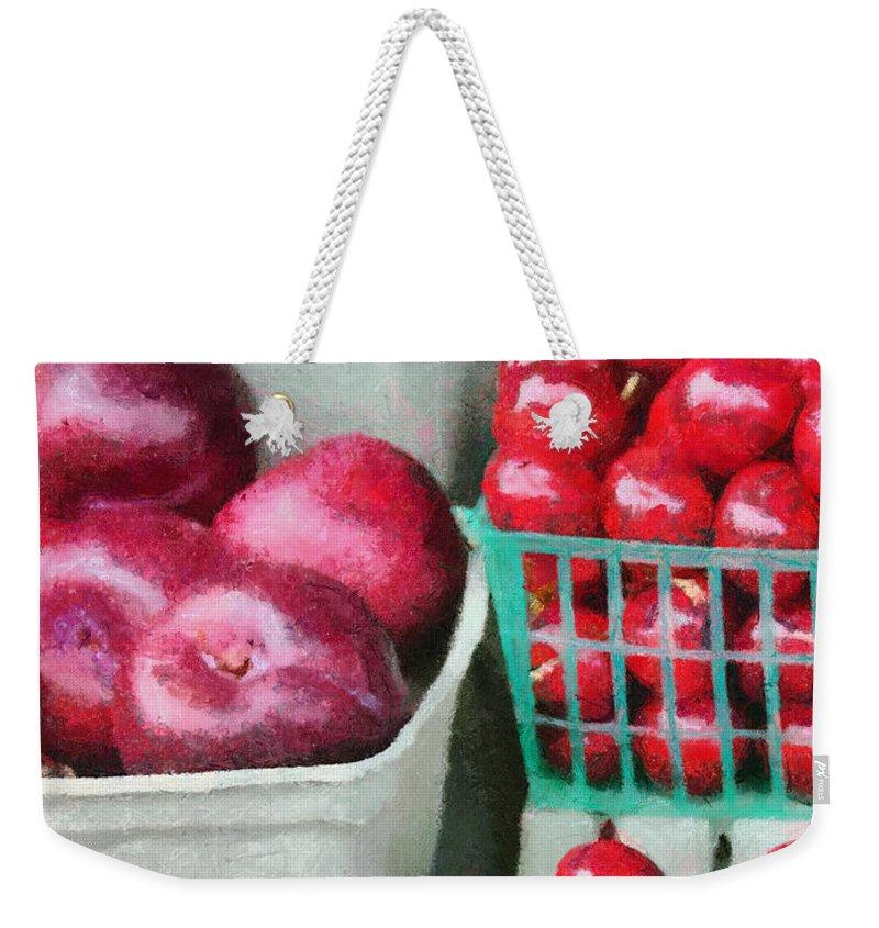 Apple Weekender Tote Bag featuring the painting Fresh Market Fruit by Jeffrey Kolker