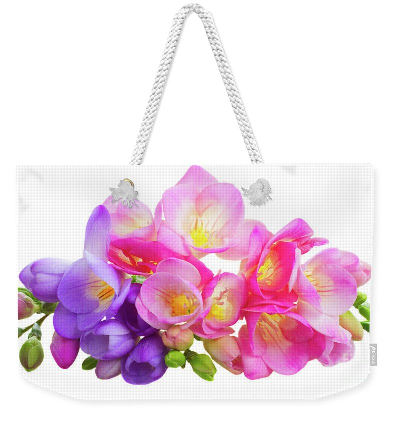 Fresh pink and violet freesia flowers weekender tote bag for sale by freesia weekender tote bag featuring the photograph fresh pink and violet freesia flowers by anastasy yarmolovich mightylinksfo