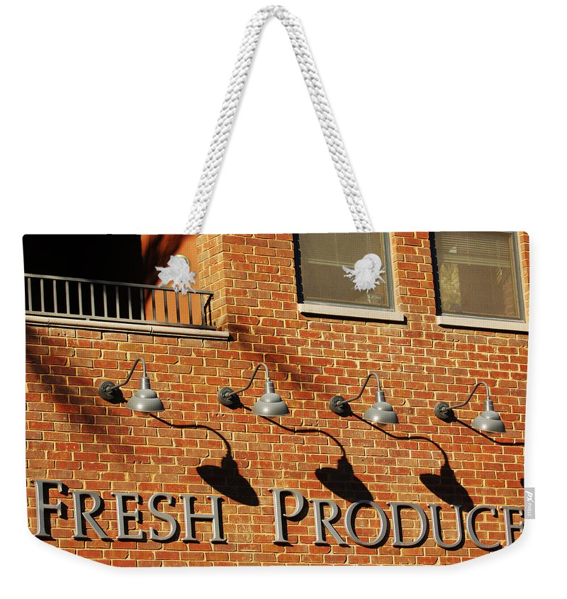 Brick Building Architecture Fresh Produce Lamps Abstract Weekender Tote Bag featuring the photograph Fresh Produce Signage by Jill Reger