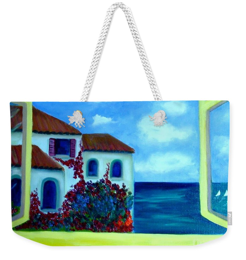 Seascape Weekender Tote Bag featuring the painting Fresh Sea Air by Laurie Morgan