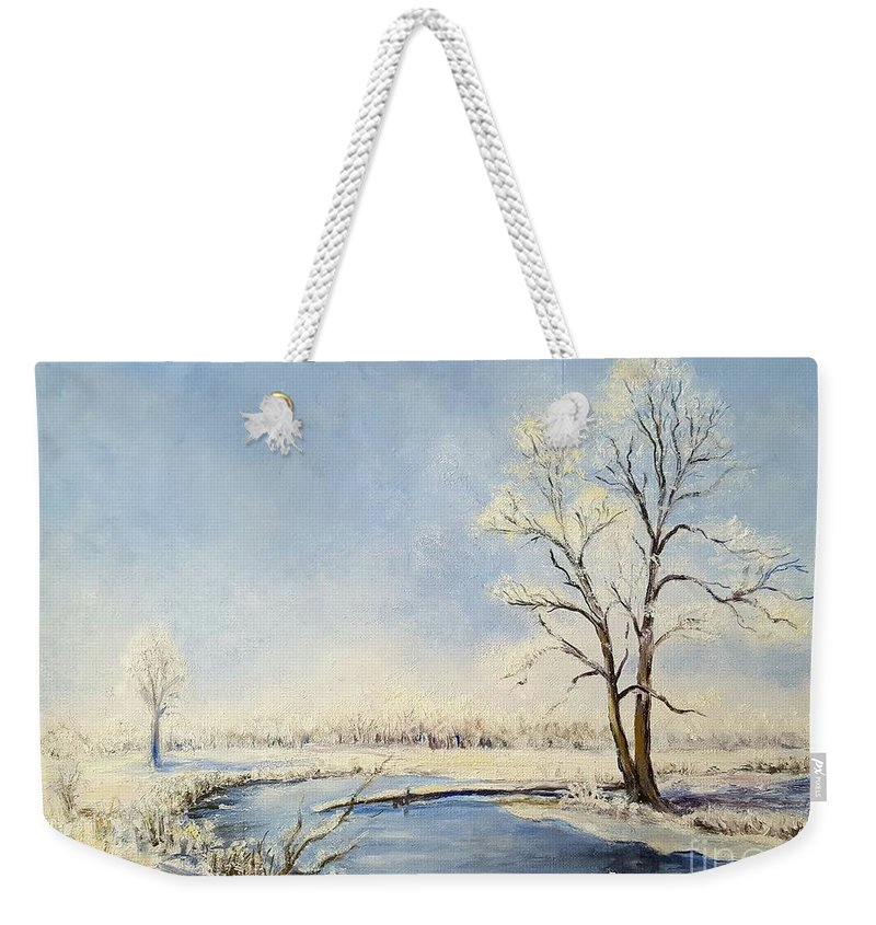 Fresh Weekender Tote Bag featuring the painting Fresh Snow by Dorothy Weichenthal