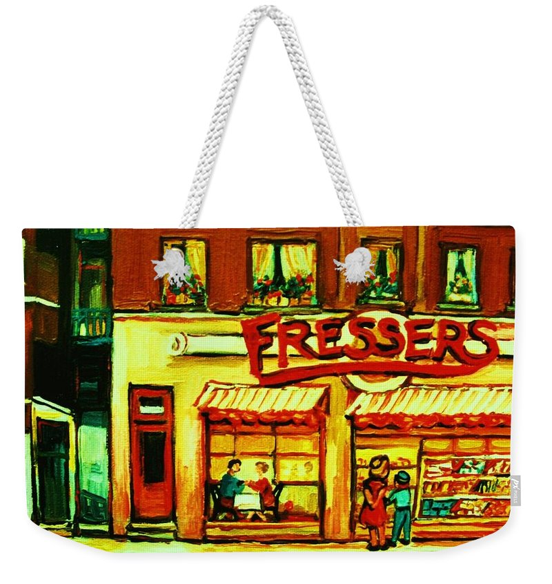 Fressers Weekender Tote Bag featuring the painting Fressers Takeout Deli by Carole Spandau