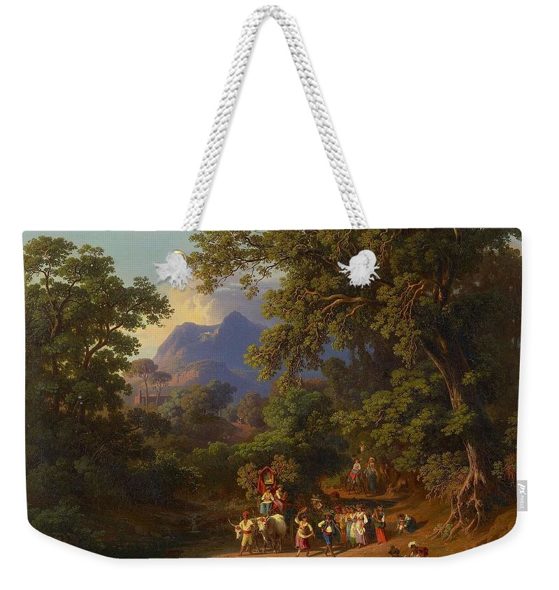 Nature Weekender Tote Bag featuring the painting Frey Johann Jakob 1813 Basel  1865 Frascati Wedding Procession Of Italian Farmers by Frey Johann Jakob