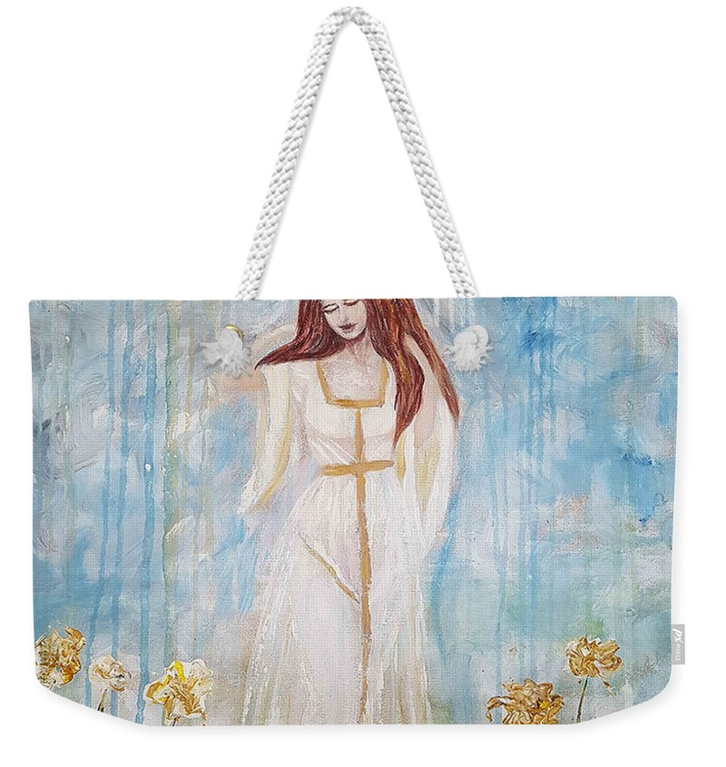 Weekender Tote Bag featuring the painting Freya - Goddess Of Love And Beauty by A B