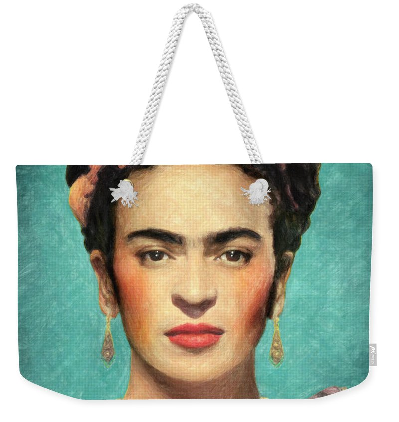Frida Kahlo Weekender Tote Bag featuring the painting Frida Kahlo by Zapista Zapista