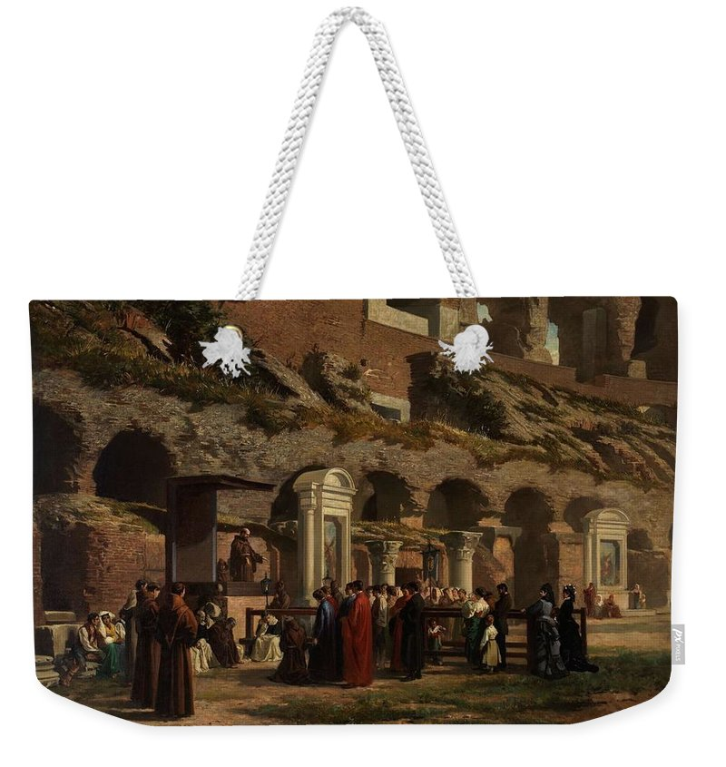 Nature Weekender Tote Bag featuring the painting Friday At The Colosseum In Rome Amerigo Y Aparici Francisco Javier by Amerigo Y Aparici