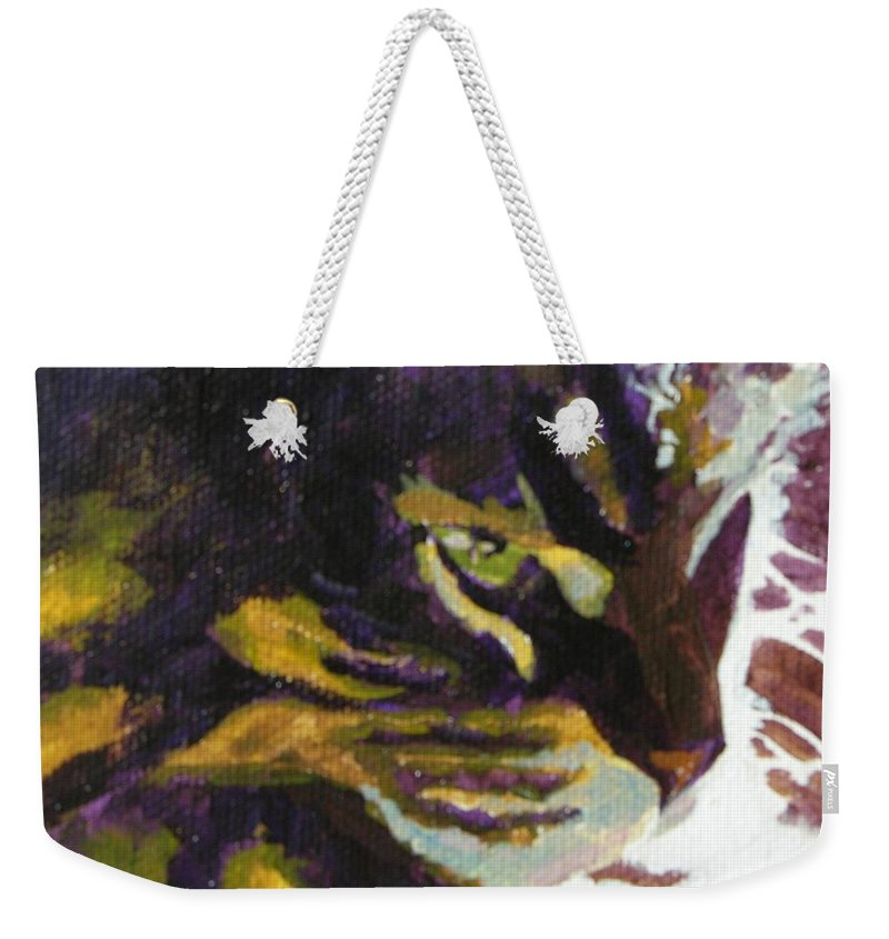 Cat Weekender Tote Bag featuring the painting Friday In The Sun by Mary McInnis
