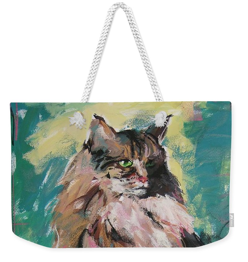 Cat Weekender Tote Bag featuring the painting Friday Lioness by Mary McInnis