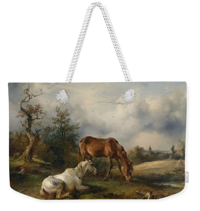 Nature Weekender Tote Bag featuring the painting Friedrich Gauermann A Grey And A Chestnut In The Pasture 1825 by Friedrich Gauermann