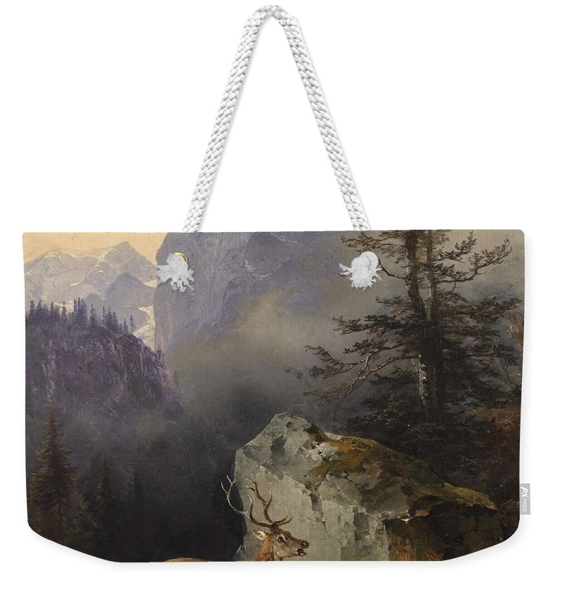 Nature Weekender Tote Bag featuring the painting Friedrich Gauermann Red Deer At The Watering Hole by Friedrich Gauermann