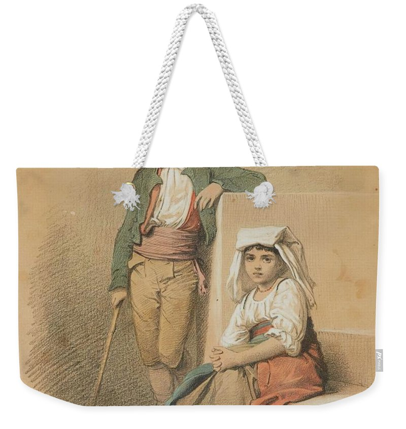 Girl Weekender Tote Bag featuring the painting Friedrich Gonne Two Italian Youths by Friedrich Gonne