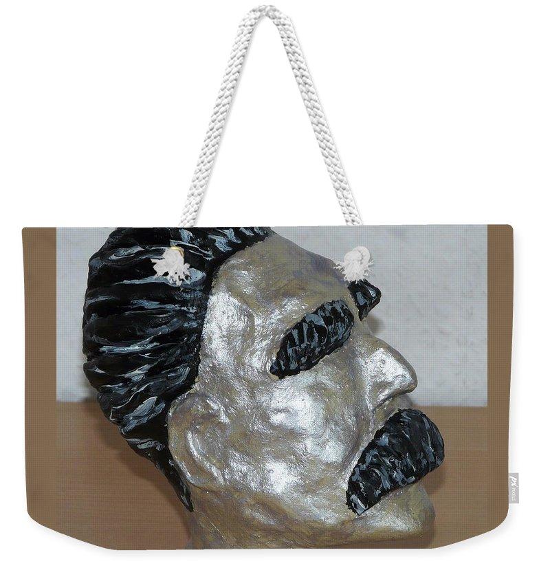 Nietzsche Weekender Tote Bag featuring the sculpture Friedrich Nietzsche by Valerie Ornstein