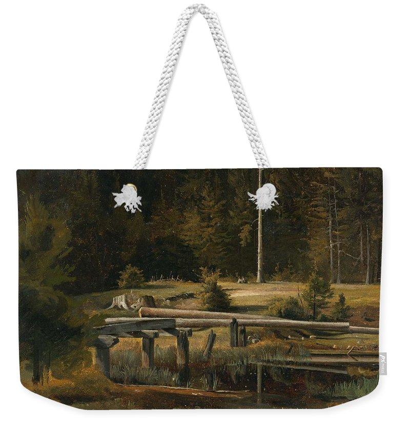 Nature Weekender Tote Bag featuring the painting Friedrich Voltz 1817 Nordlingen  Munich 1886 Forest Clearing At A Pond by Friedrich Voltz Nordlingen