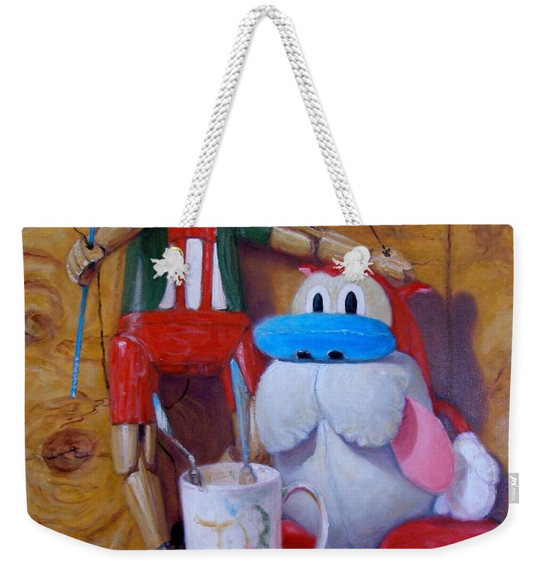 Realism Weekender Tote Bag featuring the painting Friends 2 - Pinocchio and Stimpy  by Donelli DiMaria