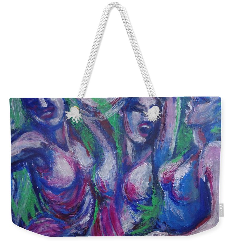 Friends Weekender Tote Bag featuring the painting Friends - Girls Clubbing by Carmen Tyrrell