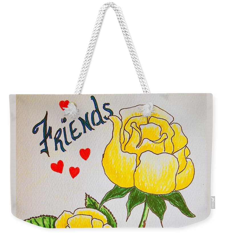 Stationery Card Weekender Tote Bag featuring the drawing Friends by J R Seymour
