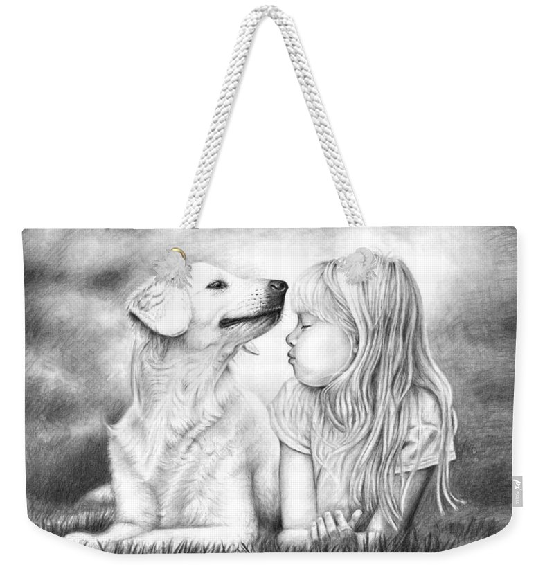 Dog Weekender Tote Bag featuring the drawing Friends by Nicole Zeug