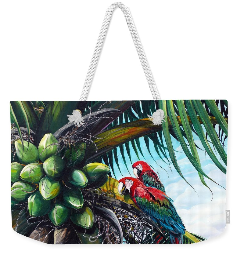 Macaws Bird Painting Coconut Palm Tree Painting Parrots Caribbean Painting Tropical Painting Coconuts Painting Palm Tree Greeting Card Painting Weekender Tote Bag featuring the painting Friends Of A Feather by Karin Dawn Kelshall- Best