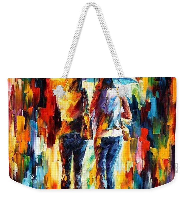 Afremov Weekender Tote Bag featuring the painting Friends Under The Rain by Leonid Afremov