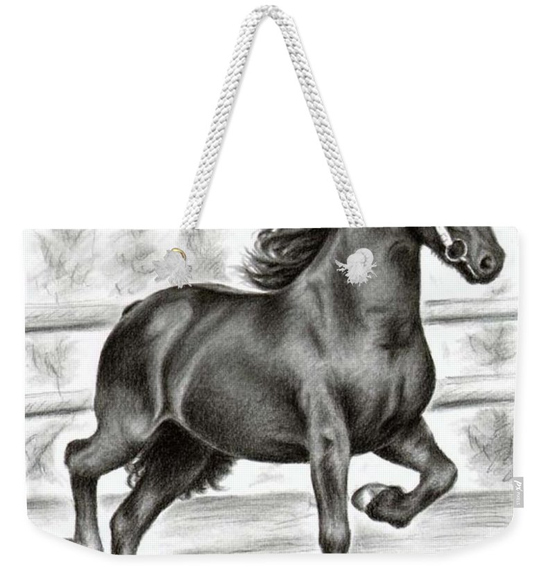 Horse Weekender Tote Bag featuring the drawing Friesian Horse by Nicole Zeug
