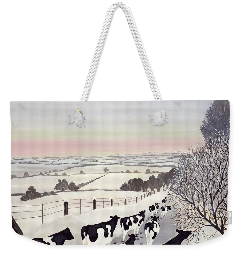 Fence; Cow; Cows; Landscape; Winter; Snow; Tree; Trees; Friesians; Animal; Farm Animal Weekender Tote Bag featuring the painting Friesians in Winter by Maggie Rowe