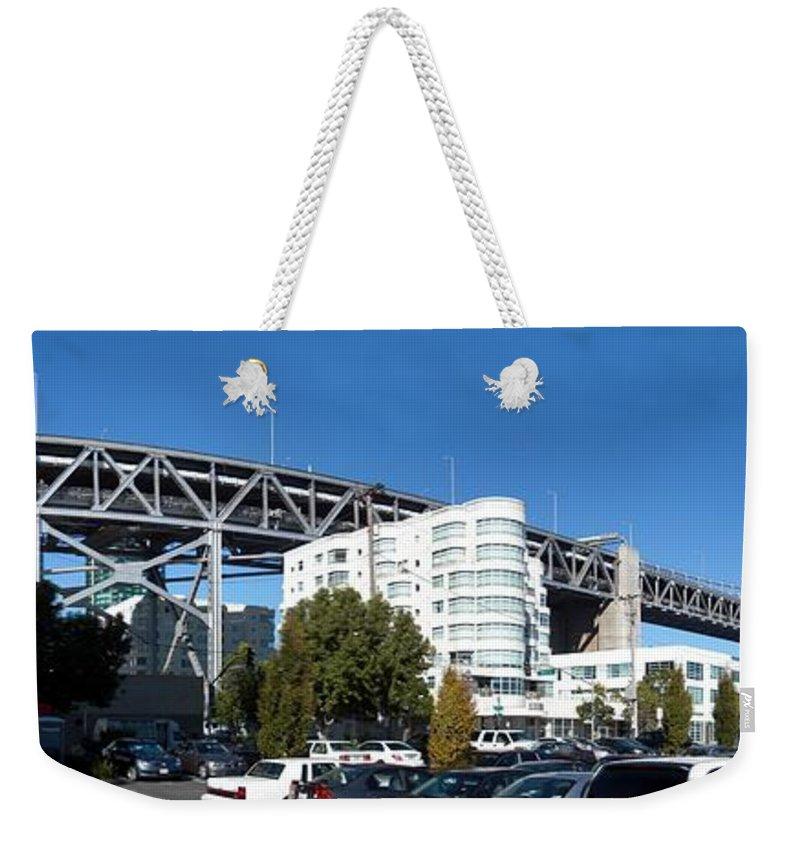 San Francisco Bridge Weekender Tote Bag featuring the photograph Frisco Bridge by Ron Bissett
