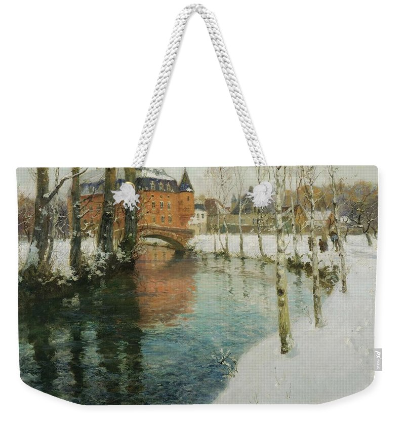 Nature Weekender Tote Bag featuring the painting Frits Thaulow  A Chateau In Normandy by Frits Thaulow